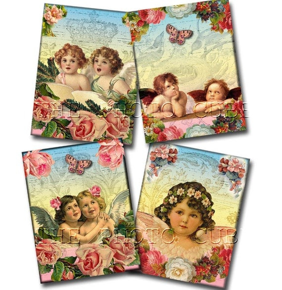 """Angels/Cherubs -Whimsical Shabby Chic Vintage Art Cards-4""""x5.25""""-Instant Download- Printable Collage Sheet JPG Digital File-NeW LoWER PRiCE"""