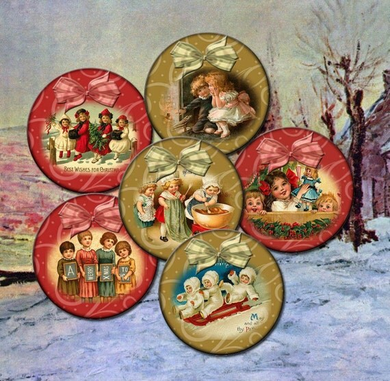 "20 Children's Christmas WonderLand ViNtAgE ArT 2"" Circles- Printable Collage Sheet JPG Digital File- New Lower Price"