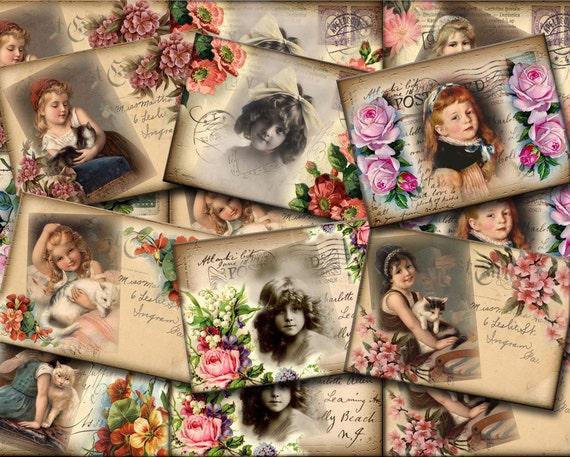 Vintage Children Photos on PostCard Tags/Labels -INSTaNT DOWNLoAD- Lovely Printable Collage Sheet JPG Digital File