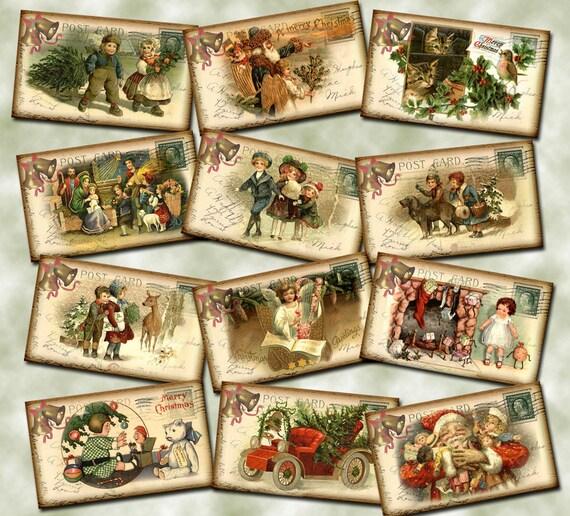 Christmas Holiday PostCard Vintage Hang/Gift Tags -Santa Clause, Car ...