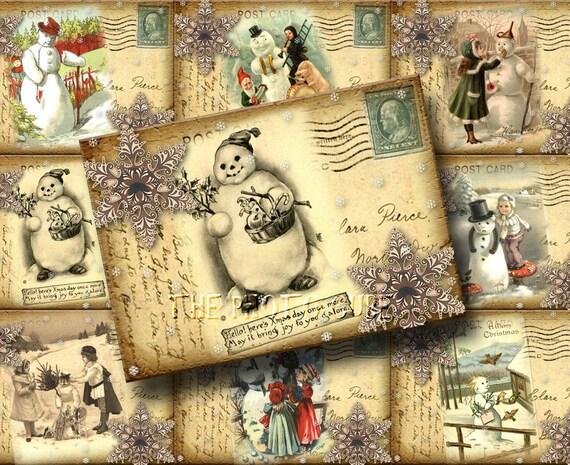 Set of 9 Antiqued SNOWmAN Postcard Vintage Hang/Gift Tags- Cards - Printable digital collage sheet JPG File-Buy ONe Get ONe FREE