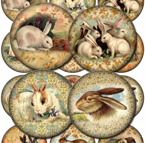 Bunny RABBIT Vintage Art 2.5 inch Circles for Labels, Cupcake Toppers, jewelry, -Printable Collage Sheet-JPG Digital File- NeW LoWER PRiCE