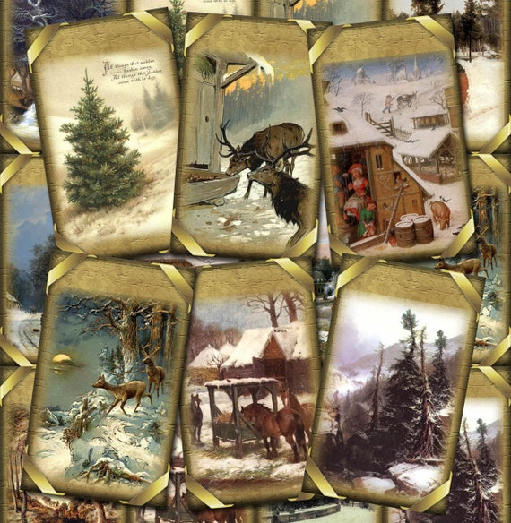 Magical WINTER SNOW Vintage ArT Antiqued Hang/Gift Tags/Cards/Labels /Craft Supplies- Printable digital collage sheet- NeW LoWER PRiCE