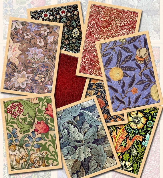 William Morris Vintage Art Tags/Cards/Labels-craft supplies-CHaRMiNG Printable Collage Sheet Download JPG Digital File- New Lower Price