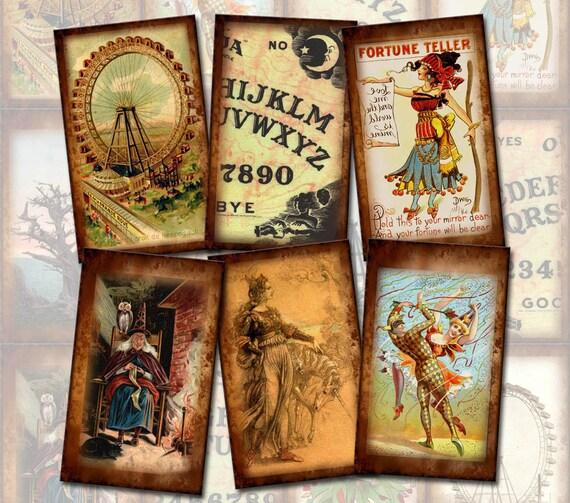 Fortune Teller, Ouija Board, Ferris Wheel- PriMiTiVe Vintage Art Tags/Cards- Printable Collage Sheet JPG Digital File- New Lower Price