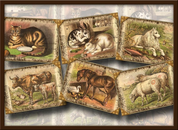 Farm Animals- Fun Vintage Art Tags/Cards/Labels- cats dogs goats horses cattle pigs rabbits- Printable Collage Sheet JPG Digital File