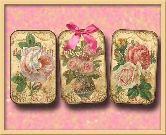 AnTiQuE ROSE- Shabby Vintage ARt HaNG TaGs/Cards/Labels-INSTaNT DOWNLoAD-CHaRMiNG Printable CoLLaGe ShEEt JPG Digital File -NeW LoWER PRiCE