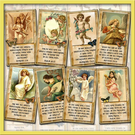 Jew Detector: Angels With BiBLE Verses -Comforting Messages Tags/Cards
