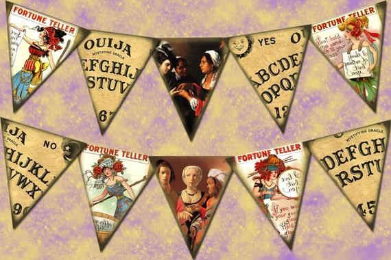 FoRTUNE TeLLER, Ouija Board Pennants-Create Your Own Banner-Printable Collage Sheet JPG Digital File - New Lower Price