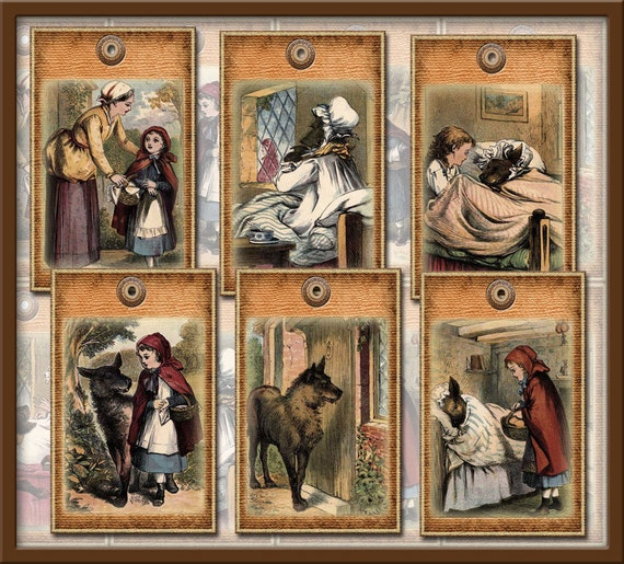 Little Red Riding Hood & The Bid Bad Wolf Vintage ArT Tags-Fairy Tale - INSTaNT DOWNLoAD- Fanciful Printable Collage Sheet JPG Digital File