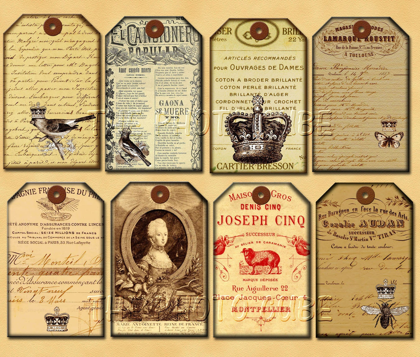 French Ephemera Gift/Hang Tags Vintage Altered by thephotocube
