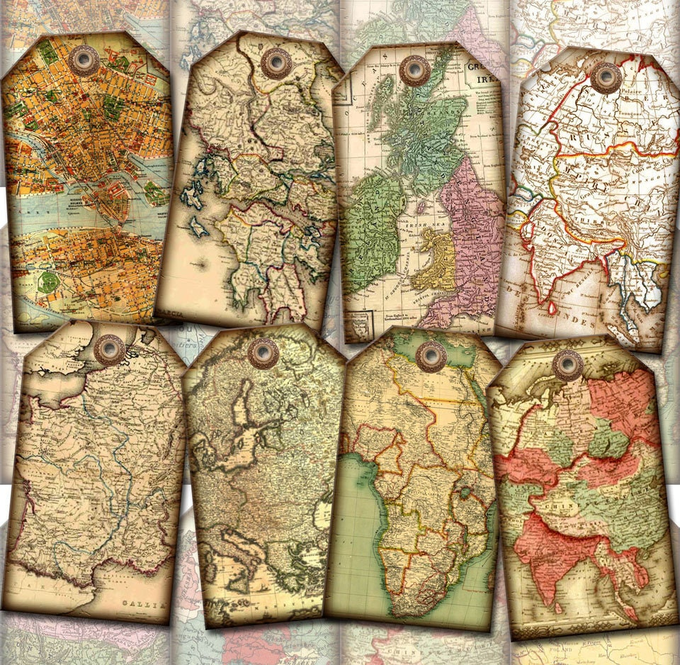 ViNTAGE Antique Maps Hang/Gift Tags LaBELS by thephotocube