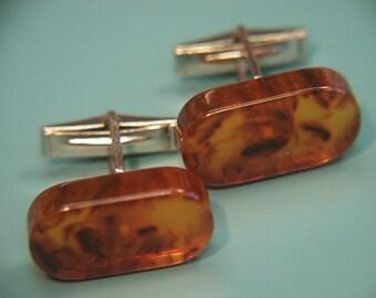 Pair of cufflinks with genuine tested vintage 1950s halftranslucent slightly swirled amber brown bakelite plastic beads