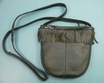 Unusual one-of-a-kind small new/unused shoulderbag purse with fringes of dark forst green skin/leather in my own design