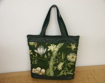 Lovely green new/unused tote shoulderbag handbag in printed linen and darkgreen skin/leather