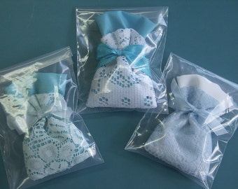 Lot of 3 lovely handmade small lavender bags in light blue filled with wonderful smelling lavender