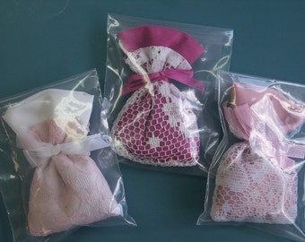 Set of 3 Lovely small handmade different lavender filled bags in pink and cerise pink color for your linen cupboard