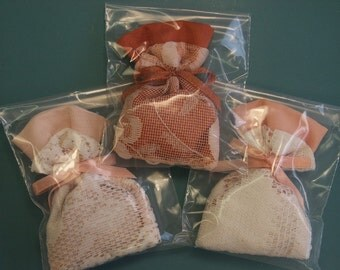Set of 3 Lovely small handmade different lavender filled bags in orange color for your linen cupboard