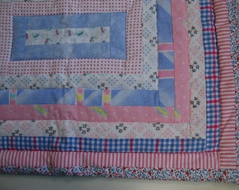 Pastel color prewashed cotton textile quilt babycover in log cabin pattern