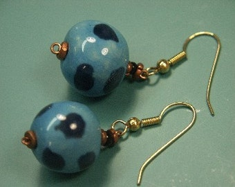 Unique one-of-a-kind earhangings with handmade painted blue clay balls