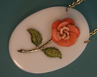 Unique one-of-a-kind large handmade rose flower plastic/metal pendant chain necklace