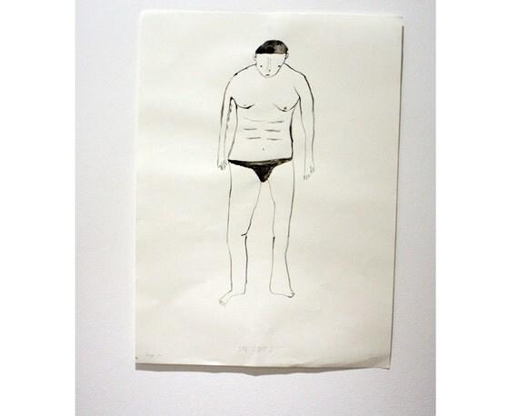 Original gouache illustration / painting - Speedos 001