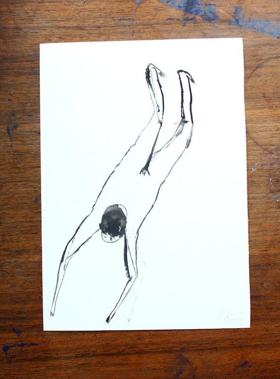 Bather V  -  Original gouache illustration