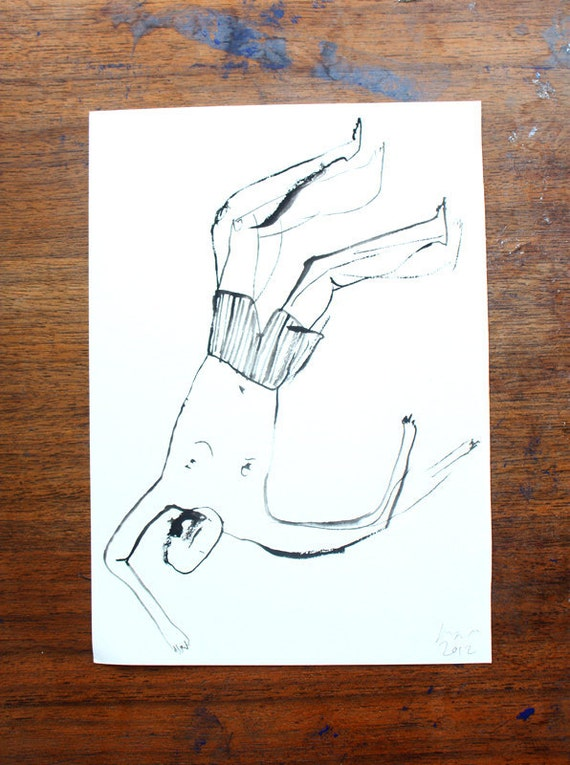 Bather IX -  Original gouache illustration