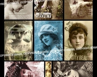 Downloadable Collage Sheet - Vintage Gorgeous Women ATC / ACEO Backgrounds Template for Making Your Own ATCs - Download and Print!