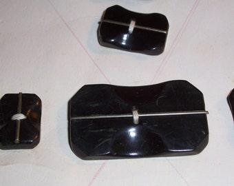 9 Vintage Antique Black Buttons
