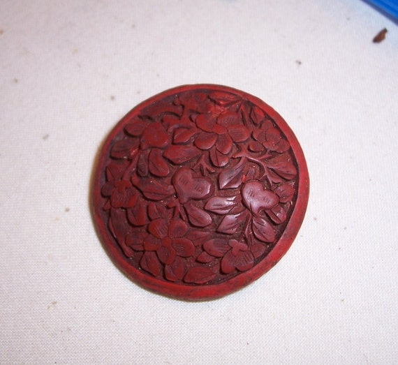 Antique cinnabar lacquer hand carved button by goinggreen