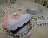 Handstitched Felt Pink and White Cake Slice