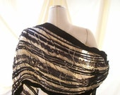 Amazing ribbon shawl talit, wrap, scarf in hues of black and  gold made with ribbons and yarn