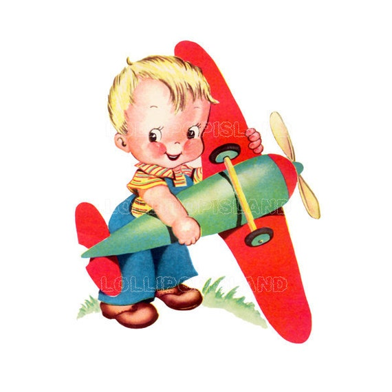 INSTANT DOWNLOAD - Airplane - digital image (Little boy no.67-W) ready to print digital image for making cards, tags, iron on transfers etc