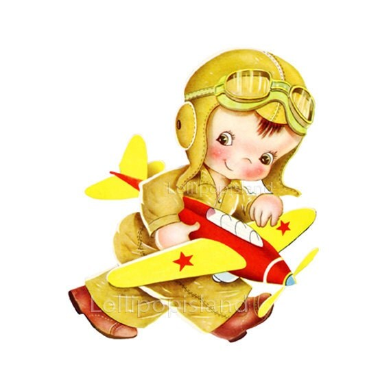 INSTANT DOWNLOAD - Pilot - digital image (Little boy no.721-W)  cute retro art illustration for making fabric transfers,  greeting cards,etc