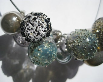 Black and Blue Glass Bubble Necklace