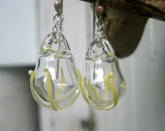 Yellow and Clear glass earrings