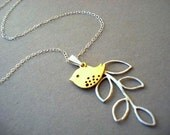 Silver Leaf Necklace with Gold Bird