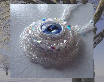 Winter Ice Beaded Rivoli Necklace