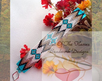 Bead PATTERN Sante Fe Cuff Bracelet Loom Or Square Stitch