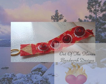 Handwoven Beaded Cuff Bracelet Spiral Lampwork Cuff  7 inch