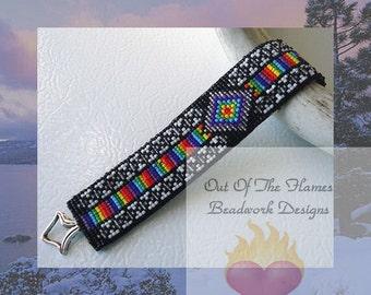 Bead PATTERN Native American Spectrum Cuff Bracelet Loom Or Square Stitch