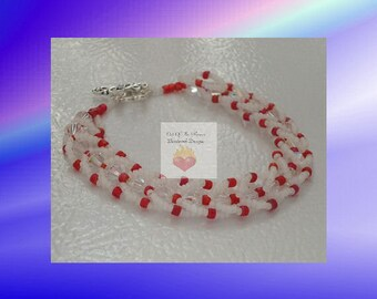 Swarovski crystal  Flat Spiral Stitch Bracelet