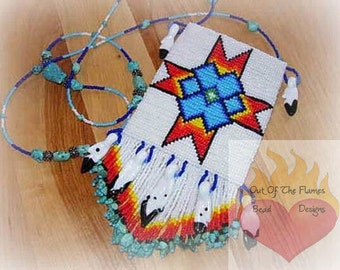 Bead Pattern Sioux Star  amulet panel Square / Loom