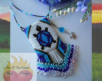 Bead PATTERN Turtle Totem Amulet Bag Loom or Square Stitch