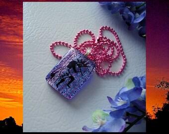 Dichroic Fused Glass Pendant Necklace Kokopelli