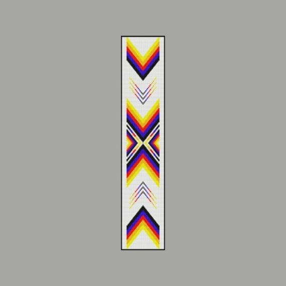 native american color ribbon 2 bead pattern loom square or peyote