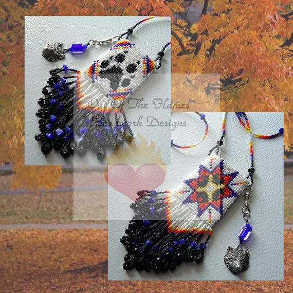 Bead PATTERN Morning Star Wolf Reversible Amulet Bag Loom or Square Stitch