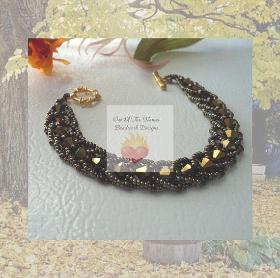 Swarovski crystal Bronze Metallic  Spiral Stitch Bracelet
