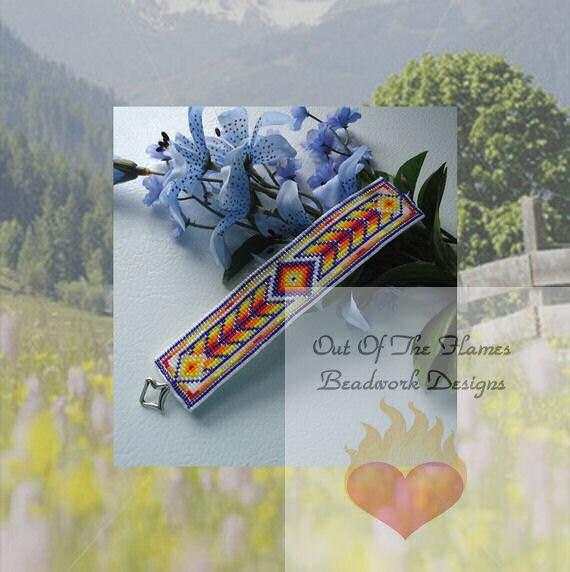 Bead PATTERN Native American Color Arrow Cuff Loom or Square stitch